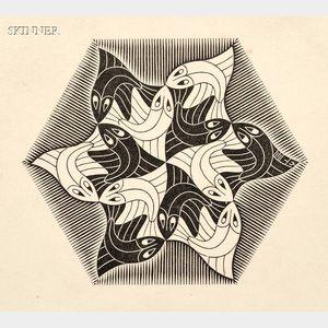 M. C. Escher (Dutch, 1898-1972)      Two Vignettes: Fish Vignette