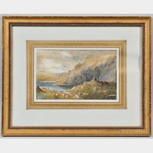 William Fraser Garden (British, 1856-1921)      Landscape with Cliffs and Shepherds on the Shore
