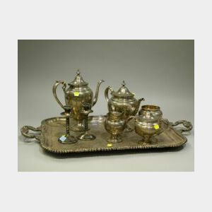 Five-Piece Gorham Sterling Silver Tea and Coffee Service with a Silver Plated Serving Tray and a Pair of Candleholders.