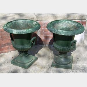Pair of Green-painted Cast Iron Campagna-form Garden Urns