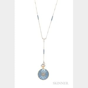 Lady's 18kt Gold and Enamel Open-face Pendant Watch, Tiffany & Co.