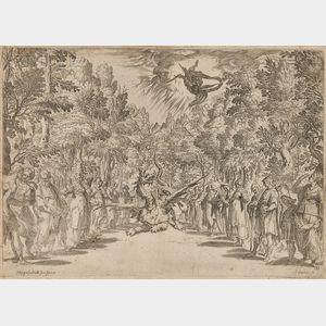 Agostino Carracci (Italian, 1557-1602)      Apollo and the Python