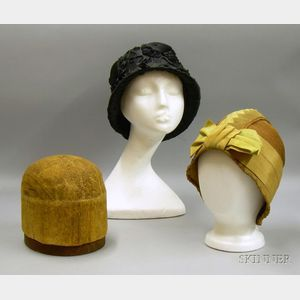 Two 1920s Straw and Silk Cloche Hats.