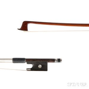 French Nickel Silver-mounted Violin Bow, Probably E.F. Ouchard