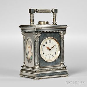 Miniature Silver Minute Repeating Carriage Clock