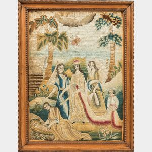 "Early English ""Moses and Jochebed"" Needlework Picture"