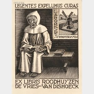M. C. Escher (Dutch, 1898-1972)      Three Bookplates:  Bookplate Dr. P.H.M. Travaglino