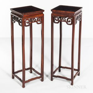 Pair of Hardwood Tall Stands