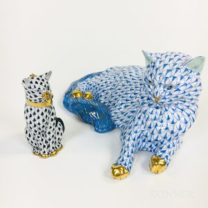 Two Herend Ceramic Cats