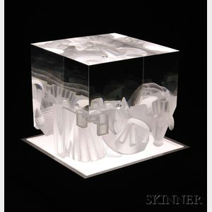 Sold for: $2,706 - Steven Weinberg (American, b. 1954) Glass Cube Sculpture