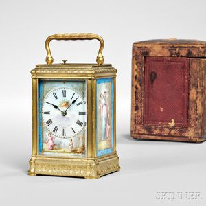 Engraved Brass and Porcelain Hour Repeating Carriage Clock