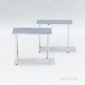 Pair of Stainless Steel Side Tables
