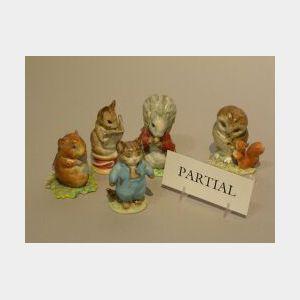 Seven Beswick Beatrix Potter Ceramic Animal Figures and Two Ceramic Squirrels