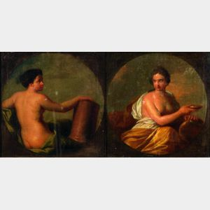Attributed to Angelica Kauffmann (Swiss, 1741-1807)    Lot of Two Allegorical Figures