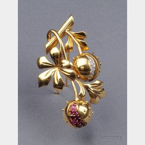 18kt Gold, Ruby, and Diamond Brooch, France