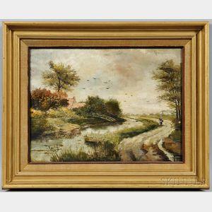 Circle of Willem Roelofs (Dutch, 1822-1897)      Dutch Canal Landscape