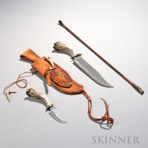 Two Bone-handled Knives in Sheath and a Swaine Leather Riding Crop, the largest knife with an engraved Native American figure, largest