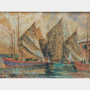 David Rawnsley (British, 1909-1977)      Fishing Boats, Nassau
