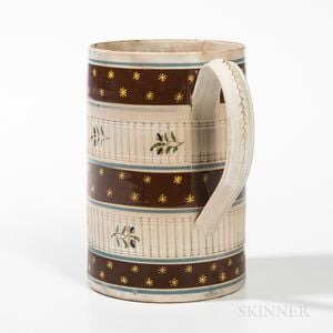 Mocha Quart Creamware Engine-turned Mug