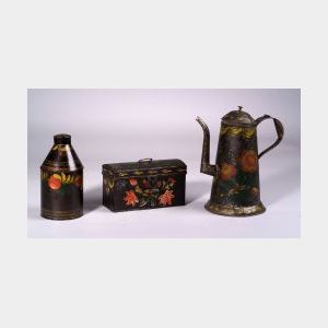 Three Painted Tinware Items