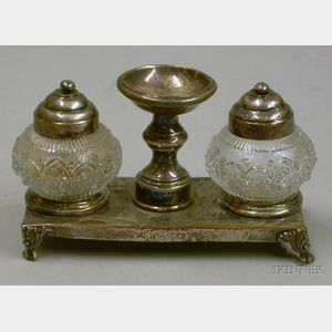 Plated Silver Two-Bottle Inkstand