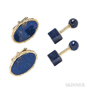 Two Pairs of Gold and Lapis Cuff Links