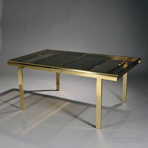 Modernist Brass and Glass Dining Table