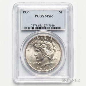 1935 Peace Dollar, PCGS MS65.