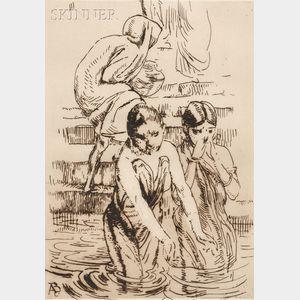Paul-Albert Besnard (French, 1849-1934)      Au bord du Gange à Benarès
