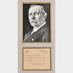 Doyle, Sir Arthur Conan (1859-1930) Autograph Postcard Signed, 27 February 1928.