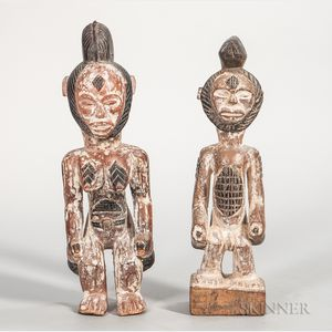 Pair of Pune-style Carved Wood Figures