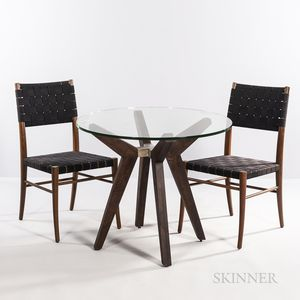 Crate & Barrel Glass-top Table and Two Chairs