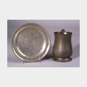 English Pewter Quart Mug and a Pewter Plate