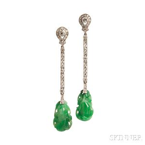 Art Deco Jade and Diamond Earpendants
