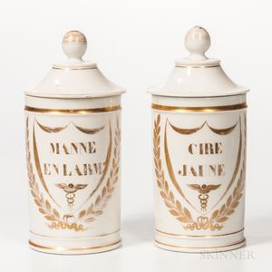 Pair of Gilt-decorated Porcelain Apothecary Jars with Lids