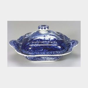 Clews Staffordshire Blue and White Transfer Decorated Covered Vegetable Dish.
