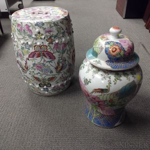Chinese Export-style Porcelain Garden Seat and Covered Jar