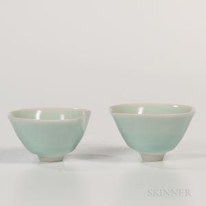 Pair of Sueharu Fukami (b. 1947) Pale Celadon Wine Cups