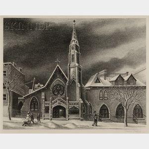 Ernest Fiene (American, 1894-1965)      The Little Church Around the Corner.