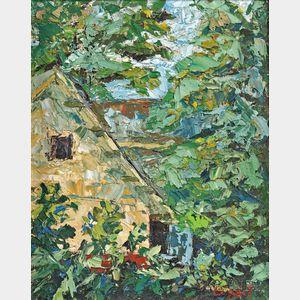 American School, 20th Century      Yellow House Through Summer Trees