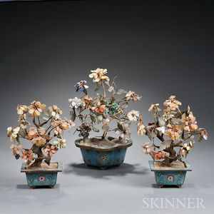 Three Hardstone Trees in Cloisonne Pots