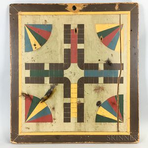 Polychrome Pine Parcheesi Board