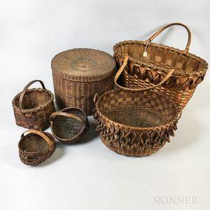 Six Woven Splint Baskets