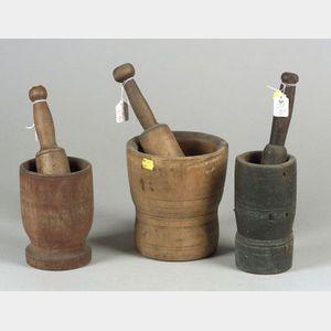 Three Turned Wood Mortars