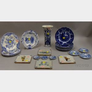 Twenty-three Delft and British Blue and White Decorated Ceramic Tableware and   Decorative Items