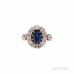 Antique Gold, Sapphire, and Diamond Ring