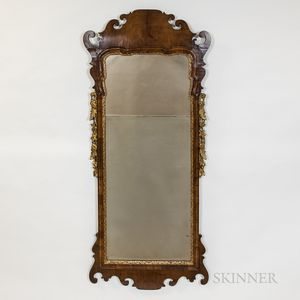 Queen Anne-style Mahogany Veneer and Giltwood Scrolled Mirror