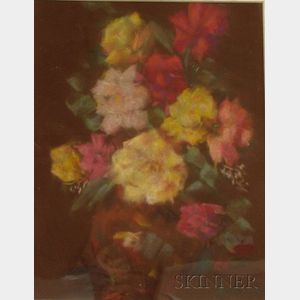 Framed Pastel on Paper Floral Still Life by Selma Abrahams (American, 20th/21st      Century)