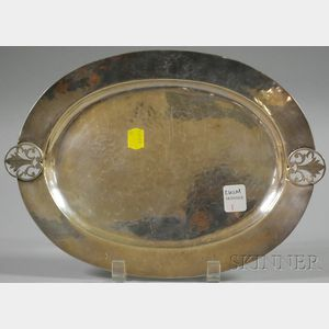 Richard Dimes Hammered Sterling Silver Oval Tray