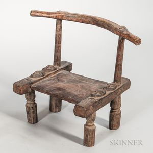 Baule-style Carved Wood Chair